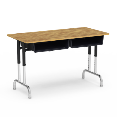7900 Series Two-Student Desk with rectangular work surface, twin book boxes, and a steel frame.