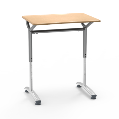 TEXT Series Student Desk with a rectangular work surface and two leg steel frame.