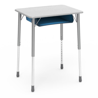 ZUMA Desk with a rectangular shaped work surface and book box, with a four leg steel frame.