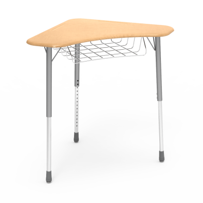 ZUMA ZBOOM Wire Book Basket with a boomerang collaborative work surface and a three leg steel frame.
