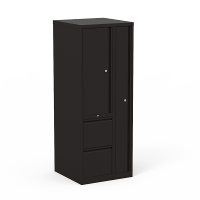 53 Series Wardrobe Tower With Right-Side Locking Garment Storage And 2 Left-Side Box Drawers