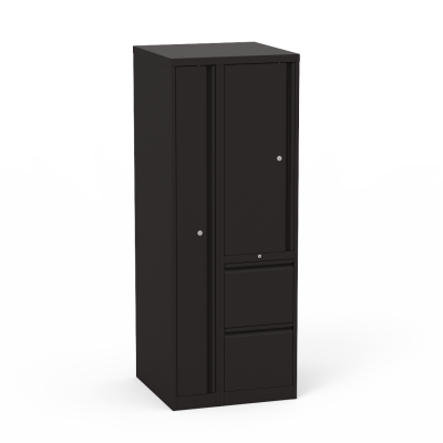 53 Series Wardrobe Tower With Left-Side Garment Storage And 2 Right-Side File Drawers