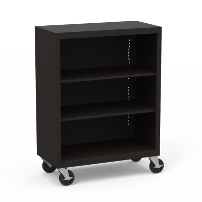 Metal Bookcase with Three Steel Shelves on Casters