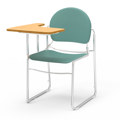 Virtuoso Tablet Arm Chair Desk with an L shaped work surface, a sled based steel frame, and a soft plastic seat and back.