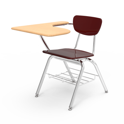 3000 Chair Desk Tablet Arm with hard plastic seat and separate back rest, L shaped hard plastic work surface, book rack, and steel frame.