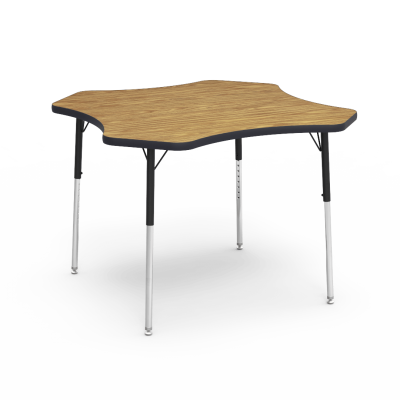 4000 Series Table with a Clover Top and Steel Adjustable Legs