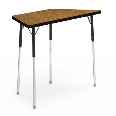 4000 Series Table with a Trapezoid Top and Steel Adjustable Legs