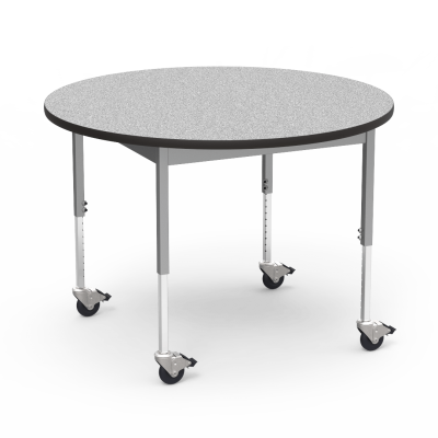 """6800 Series Table with Round Top"""" with Steel Apron and  Adjustable Steel Legs on Casters"""