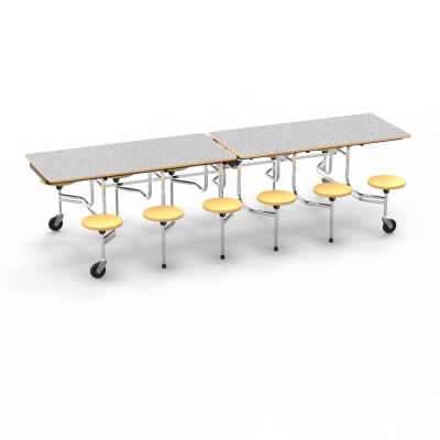 individual seats and a steel frame with 4 casters.