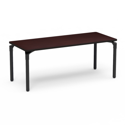 Plateau Series Table with a Rectangle top and four steel legs.