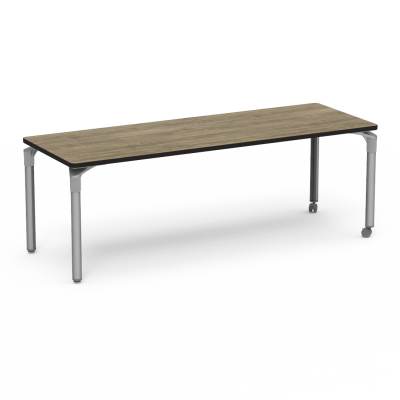 Plateau Series Table with a Rectangle top and four steel legs and two casters.