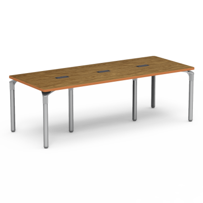 Plateau Series Table with a Rectangle top with Three Grommets, and six steel legs.