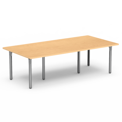 Plateau Series Library Table with a rectangle top and six steel legs.