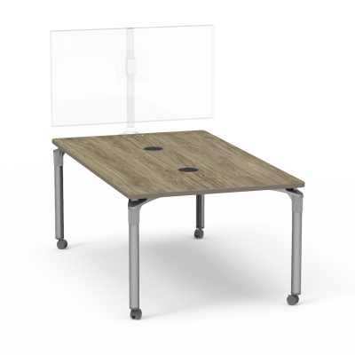 Plateau Series Media Table with a Rectangle top and four steel legs.