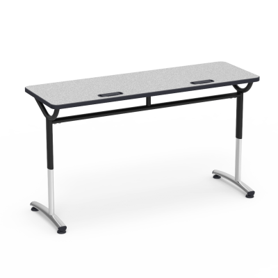 TEXT Series Table with Rectangle Top with 2 Grommets and Adjustable Steel Legs